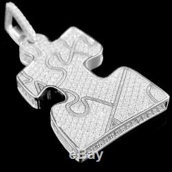 10K White Gold Over Jigsaw puzzle Piece Brilliant Cut Diamond Pendant Charm 2 ct