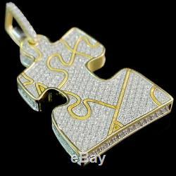 10K Yellow Gold Over Jigsaw puzzle Piece Brilliant Cut Diamond Pendant Charm Pcs