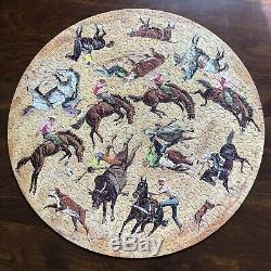 1967 Springbok Circular Puzzle Rodeo Sam Savitt Horse Cowboy Complete VTG Round