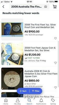 2008 Australia The First Fleet Jigsaw Puzzle 5oz silver coin Set