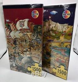 2 Heye 1500 Piece Jigsaw Puzzle Rallye Italia and Trafalgar # 29032 Jabo Ryba
