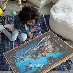 Adjustable Wooden Puzzle Board Easel Non-Slip Flannelette Surface Puzzle Table