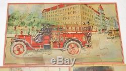 Antique Milton Bradley Fire Department Puzzle Box Fire Engine Puzzles
