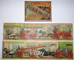 Fire-Fighting Puzzle Sectional Steamer & Hose Milton Bradley, circa 1880