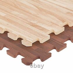 FlooringInc 3/8 EVA Soft Wood Foam Puzzle Floor Yoga & Play Mat Tiles, 2'x2