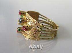 Gold Puzzle Ring 18ct Yellow Gold Multi Gem Set Puzzle Ring Size O