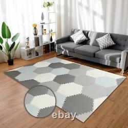 Grey/White Sotf Foam Hexagon Playmat Kids Living Rooms Exercise Yoga Puzzle Mat