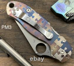 JIGSAW PUZZLES anodized Titanium Scales ONLY for Spyderco Paramilitary 3 Para 3