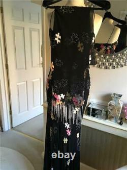 Jenny Packham Spectacular Black Silk Chiffon Jigsaw Puzzle Sequin Gown, Uk10