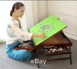 Jigsaw Puzzle Table StorageTilting Folding Table Drawer 1000 pcs Board Mat US