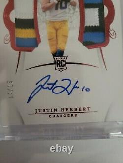 Justin Herbert 2020 Flawless Football Duel Rpa Auto Ruby 11/15 Sick Patches