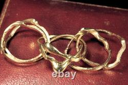 LARGE VINTAGE ENGLISH SOLID 9K GOLD 6-BAND PUZZLE RING size 12 & 12 grams