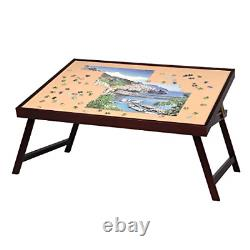 LAVIEVERT Wooden Jigsaw Puzzle Table Large Portable Folding Tilting Table for Up
