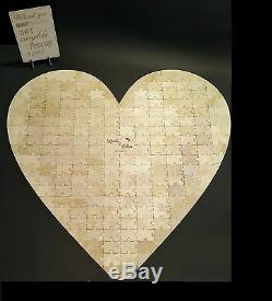 Large Heart-shape Wedding 190 pcs Jigsaw Puzzle personalised Guestbook, wooden