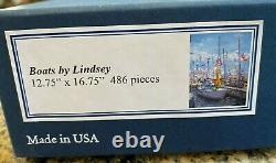 Liberty Classic Wooden Jigsaw Puzzle RARE Boats by Lindsey, 486 pcs