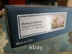 Liberty Puzzles Wooden Jigsaw Puzzle Skating in Holland 493 Pieces Mint