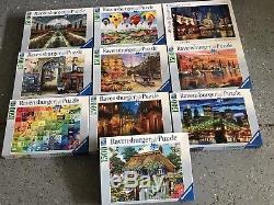 Lot of 10 Ravensburger Jigsaw Puzzles 1500 Pc Used Good Condition Assembled Once