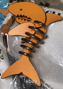 NEW COACH 1941 Keychain Sharky Shark Small Orange Tan Leather Charm Puzzle $150
