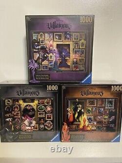 NEW and RARE! Ravensburger Disney Villainous Puzzle Bundle Yzma, Ratigan, Scar