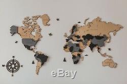 Natural Wooden Map Wall Decor World Map Pins Map Travel XXL sz (118x60)