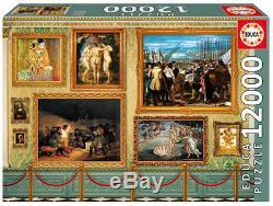Puzzle Große Kunstwerke, 12.000 Teile, Malerei, Museum, Gemälde, Collage, Educa
