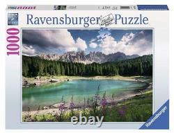 Puzzle Ravensburger 1000 pezzi Dolomiti Latemar lago Carezza val d'Ega, cm 70x50