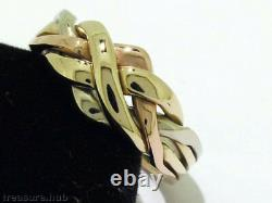 R052 Genuine 9K 9ct SOLID Tri-color Gold PUZZLE 4-Band WEDDING Ring size P