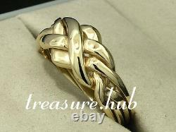 R052 Genuine Solid 9ct Yellow Gold PUZZLE 4-Band WEDDING Ring size P