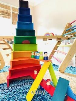 Rainbow Stacker Bundle 5pcs Wooden Nesting Puzzle/Creative Build