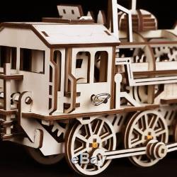 Robotime DIY Clockwork Gear Drive Locomotive 3D Wooden Model Building Kits Toys
