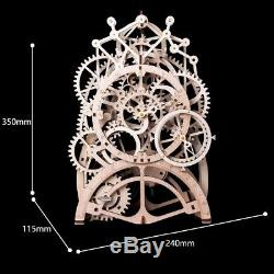 Robotime DIY Gear Drive Pendulum Clock by Clockwork 3D Wooden Model Building