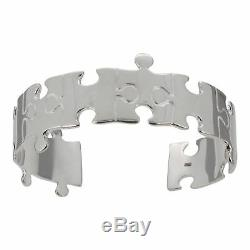 Sterling Silver Jigsaw Puzzle Design Cuff Bangle Hallmarked in the UK