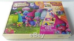 TROLLS 5 Wood Puzzles Storage Box Tray Kid Educational Learn Jigsaw Puzzle Kids