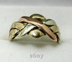 Three Colour 9 carat Gold Puzzle Ring Size J