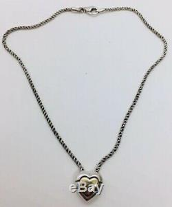 Tiffany & Co. Authentic Sterling Silver & 18k Gold Jigsaw Puzzle Heart Necklace