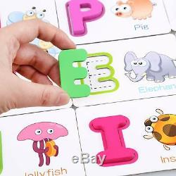 Toddler Alphabet Wooden Jigsaw Puzzle Flash Cards Dry Erase ABC Activity Cards