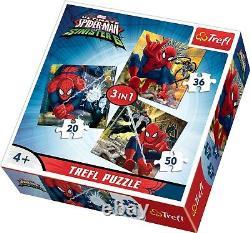 Trefl 3 In 1 20 + 36 + 50 Piece Boys Kids Marvel Spiderman Flying Jigsaw Puzzle