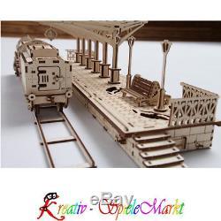 Ugears Holz Modellbau Dampflokomotive Lok Bahnhof und Schienen 3er Set