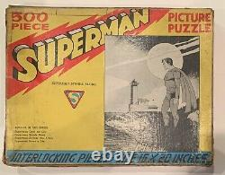 VINTAGE 1940 SAALFIELD SUPERMAN STANDS ALONE PICTURE PUZZLE WithBOX! INCOMPLETE