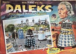 Vintage 1965 Dr Doctor Who And The Daleks Wooden Stand-Up Jigsaw Puzzle