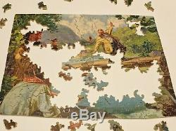 Vintage Hand Cut Wooden U-NIT Puzzle Hold Everything 250 Piece COMPLETE Fishing