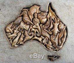 Vintage Ltd Ed Llaria & Angiolo Logi Solid Bronze Fauna Puzzle Map of Australia