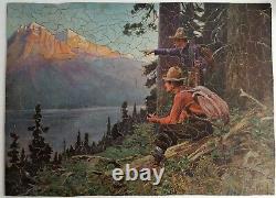 Vintage PICTURE PUZZLE EXCHANGE Wooden Jigsaw Puzzle 484 Pcs The New Lake