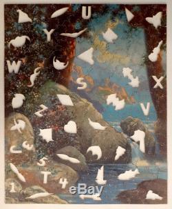 Vintage R ATKINSON FOX Print FIGURAL Wooden Jigsaw Puzzle / PARKER PASTIME par