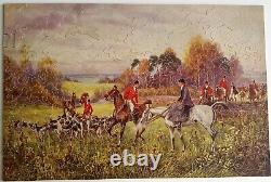 Vintage Wooden PASTIME Jigsaw PUZZLE Parker Brothers In For The Brush 352 Pcs