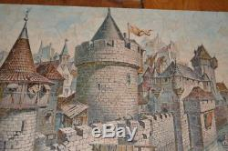 Vtg 1000+ Pcs Pastime Wood Jigsaw Puzzle Figurals Shapes Medieval War Castle