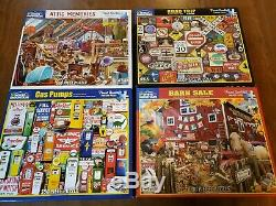 White Mountain 1000 and 550 with Springbok 500 piece puzzles huge lot of 16